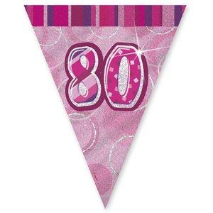 80-års födelsedag rosa vimpelbanderoll - plast 3,65m