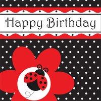 Happy Birthday pappersservetter med nyckelpigor 33 cm - 16 st