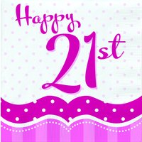 Rosa pappersservetter med prickar till 21-årsdagen 2-lagers - 18 st