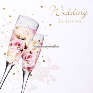 Inbjudningskort till bröllopet - champagneglas med rosor - 6 st
