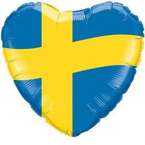 Folieballong - Hjärta med svenska flaggan 45 cm