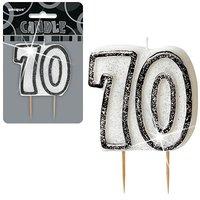 70-års födelsedagsljus - svart