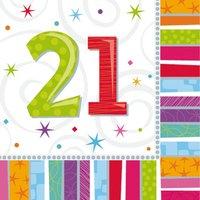 Färggranna och glänsande pappersservetter till 21-årsdagen - 2-lagers - 16 st