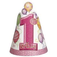 Partyhattar - Första födelsedagen Rosa