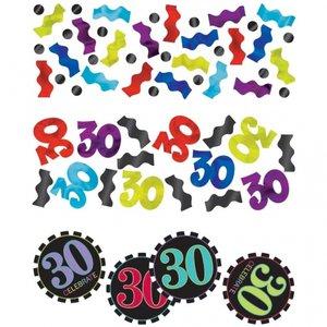 30-års födelsedag randigt bordskonfetti - 34 g