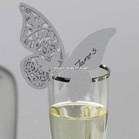 Fjärils- placeringskort till glas - silver - 10 st