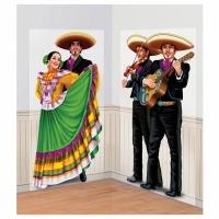 Fiesta party dansande par och Mariachi add-ons til dekorbakgrundl - 2 delars set