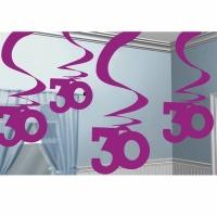 Rosa hängande virvlar festdekoration - till 30-årsdagen - 5 st