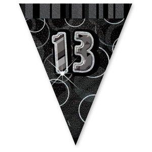 13-års födelsedag svart vimpelbanderoll - plast - 3,7 m
