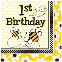 1-års födelsedag 2-lagers busy bees lunchservetter 33 cm - 16 st
