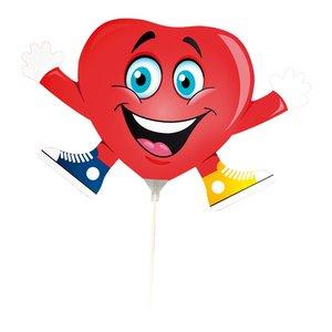 Ballong med pinne - Hjärta
