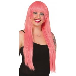 Mörksrosa peruk med lugg