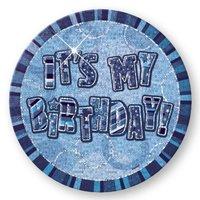 It's My Birthday födelsedagsknapp - blå - 15 cm