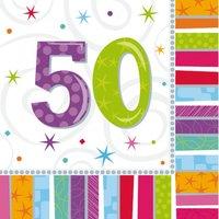 Färggranna och glänsande pappersservetter till 50-årsdagen - 2-lagers - 16 st