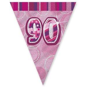 90-års födelsedag rosa vimpelbanderoll - plast 3,65m