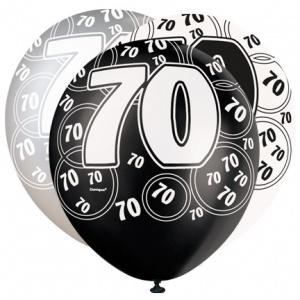 70-års födelsedagsballonger - svarta och silver - 30 cm latex - 6 st