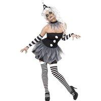 Ondskefull Pierrot-clown maskeraddr�kt