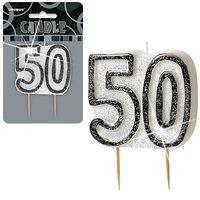 50-års födelsedagsljus - svart