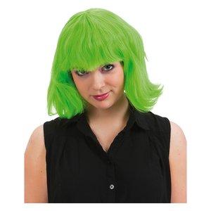 Axellång peruk grön