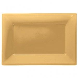 Guldfärgade serveringsfat i plast - 3 st